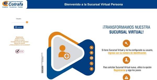 cotrafa sucursal virtual en línea