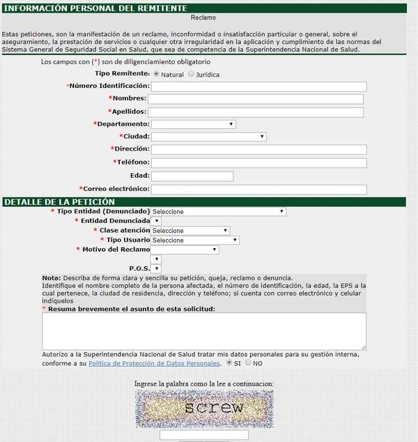 formulario de reclamación eps colombia