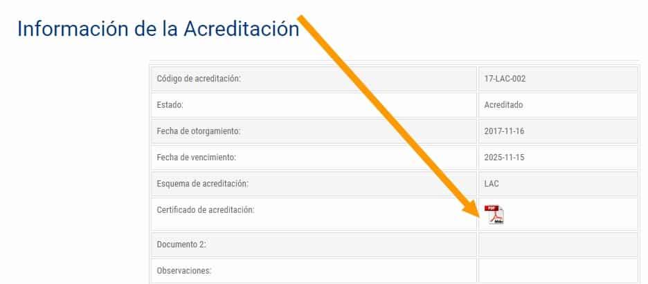 certificado de acreditación