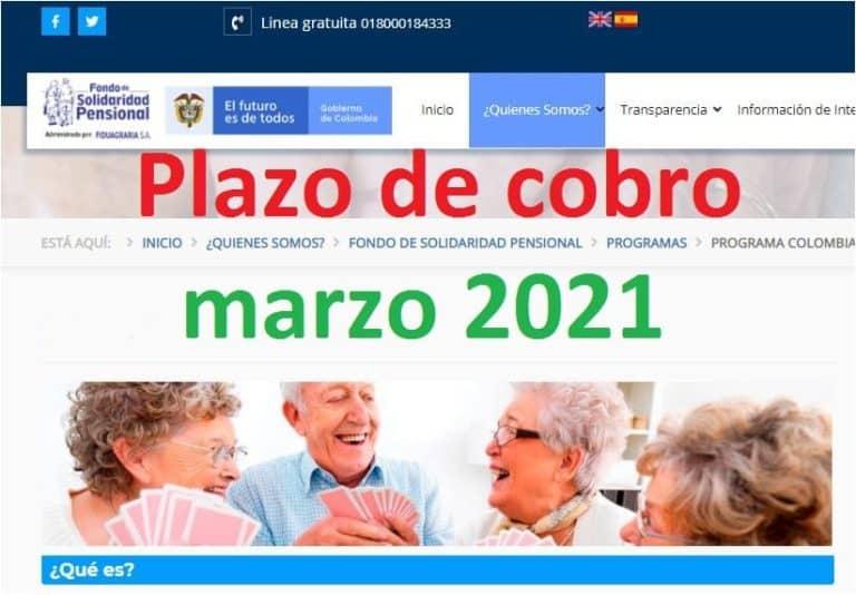 Programa colombia mayor cobro marzo 2021