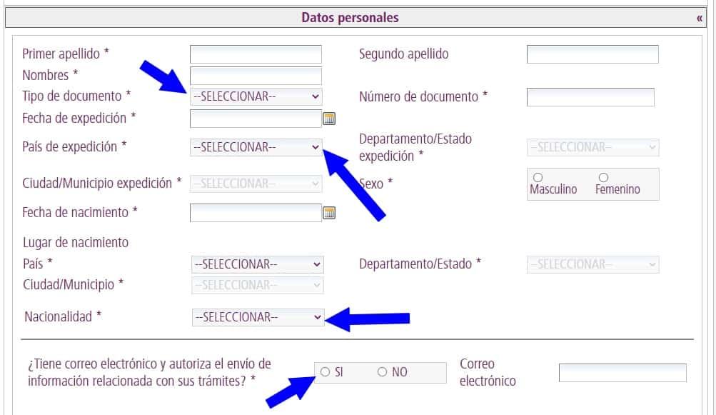 FUT datos personales