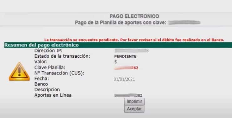 pago electrónico aportes en línea