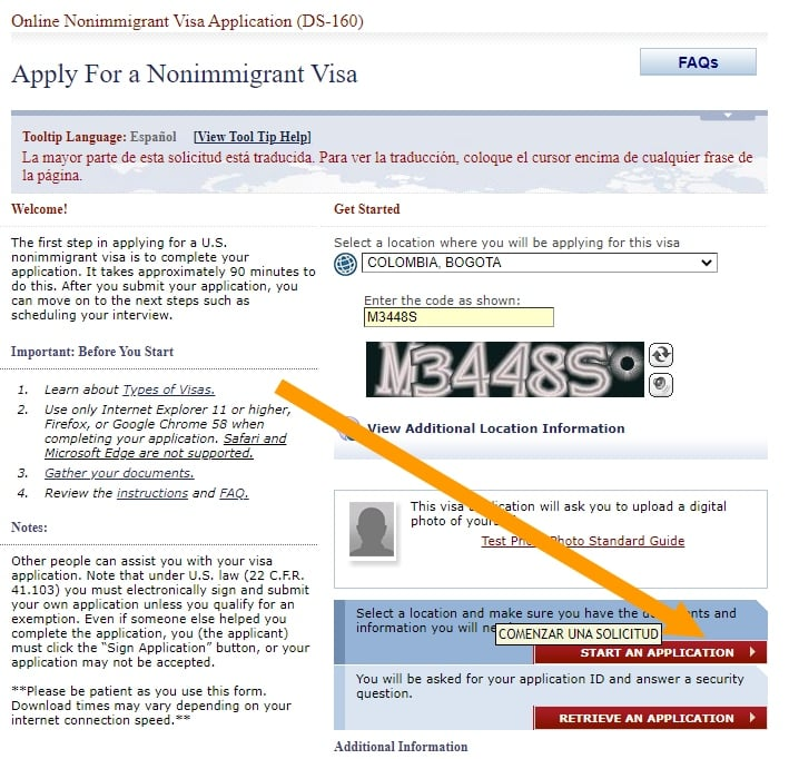 solicitar visa formulario ds-160