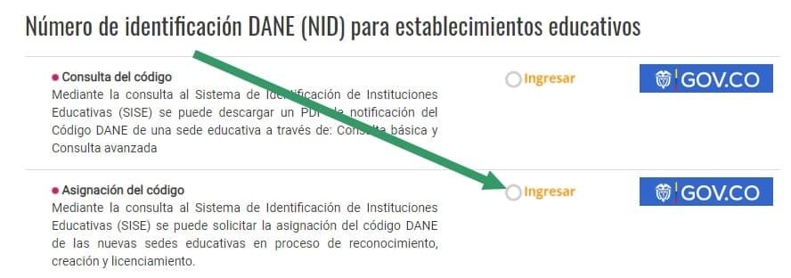 asignación código dane