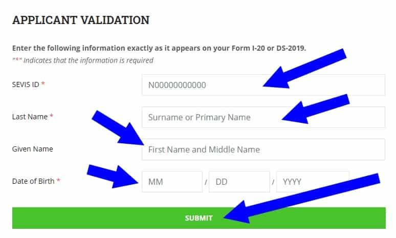 formulario sevis fee