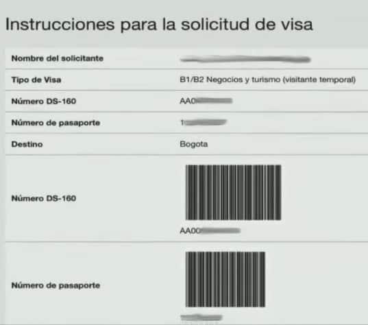 instrucciones solicitud visa