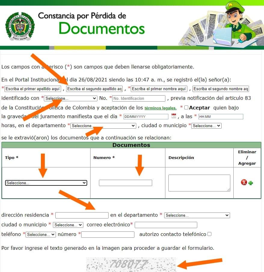formulario pérdida de documentos