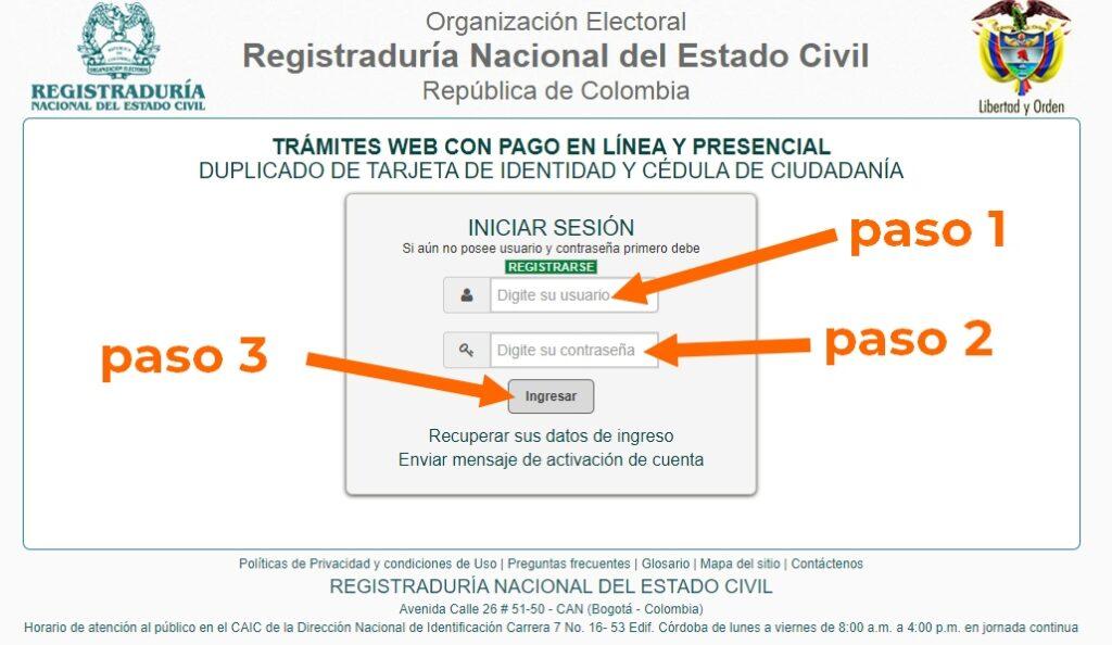 ingreso usuario registraduría nacional
